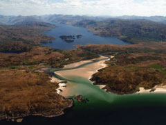 An aerial phot of Morar, Loch Morar and the Silver Sands.