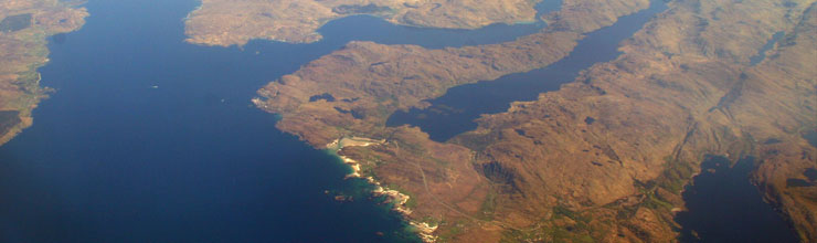 An aerial photo of Mallaig, Morar and the beaches at Arisaig.